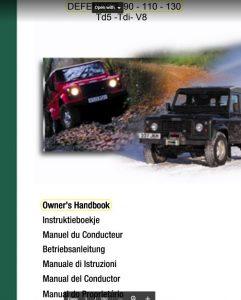 User Manual Land Rover Defender