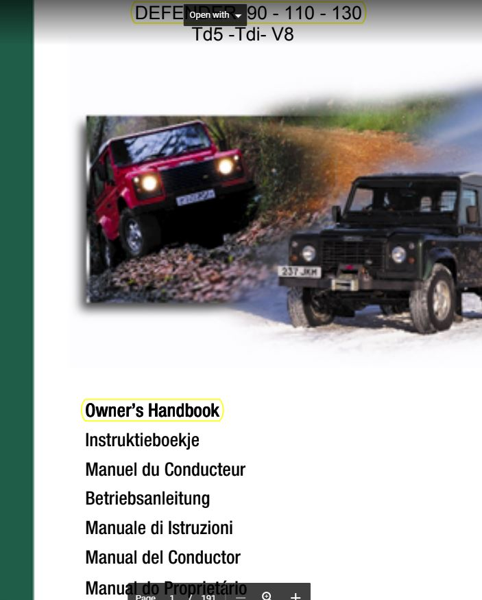 User Manual Land Rover Defender
